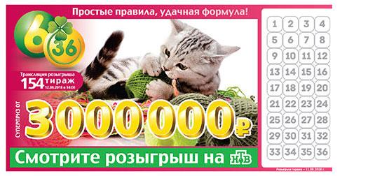Лотерея 6 из 36 тираж 154 с кошкой
