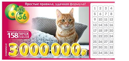 Лотерея 6 из 36 тираж 158 с рыжим котом