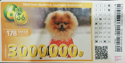 178 тираж лотереи 6 из 36 с рысью